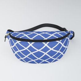 Classic blue and white curved grid pattern Fanny Pack