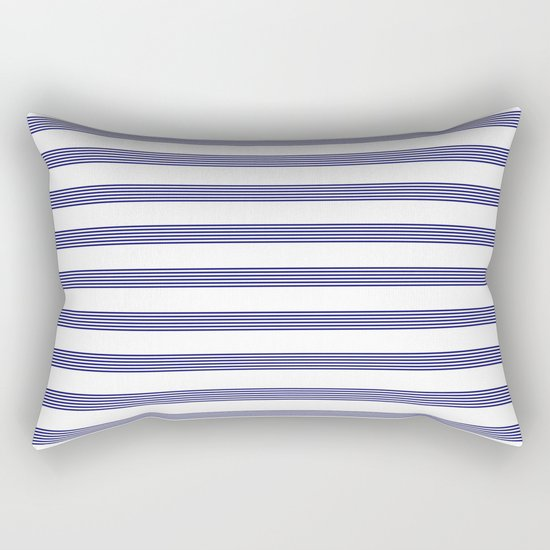 Blue- White- Stripe - Stripes - Marine - Maritime - Navy - Sea - Beach - Summer - Sailor 2 Rectangular Pillow
