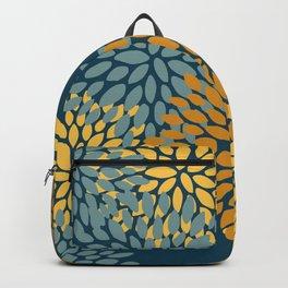 Modern Flowers Print, Dark Teal and Yellow Backpack