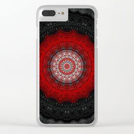 Bright Red Detailed Mandala Clear iPhone Case