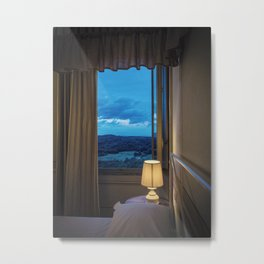 Panoramic view of the rolling hills of Chianti through a window at sunset Metal Print
