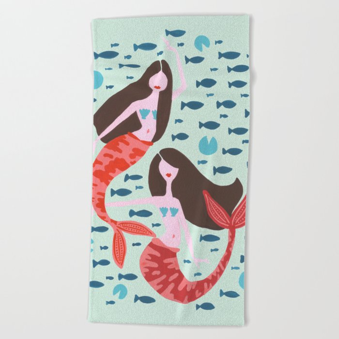 Koi Mermaids on Mint Beach Towel