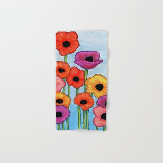 Colorful Poppies on Blue Hand & Bath Towel