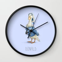 donald duck Wall Clocks featuring Real Life Donald Duck by onez