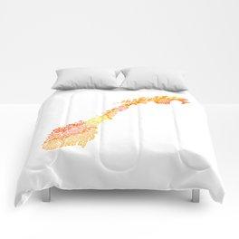 Typographic Norway orange watercolor European map art Comforters