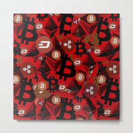 Сryptocurrencies money pattern Metal Print