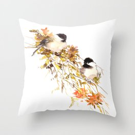 Chickadee bird art, design, chickadees artwork Throw Pillow