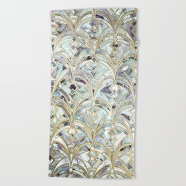 Pale Bright Mint and Sage Art Deco Marbling Beach Towel