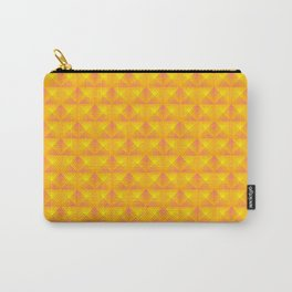 Chaotic pattern of yellow rhombuses and orange pyramids. Carry-All Pouch