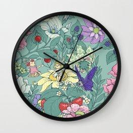 Garden party - mint tea version Wall Clock