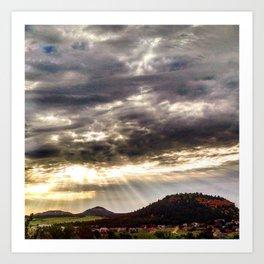 Beams over Butte Art Print