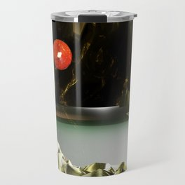 3d Modeling Cave Lake with Red Sun Travel Mug