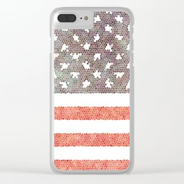 American Flag (stain glass) Clear iPhone Case