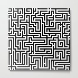 Black and white Labyrinth Metal Print