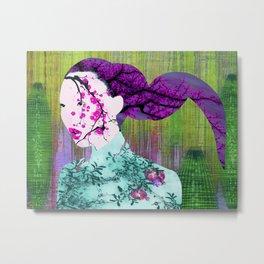 Asian Flower Woman Purple Asia Japan Japanese Art Metal Print