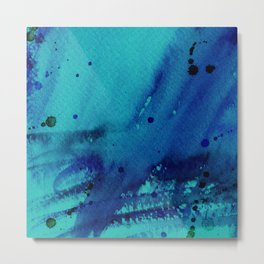 Watercolor Splash Blue Metal Print