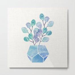 Blue Bonsai - Potted Plant Metal Print