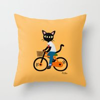 cycling Throw Pillows featuring Summer cycling by BATKEI
