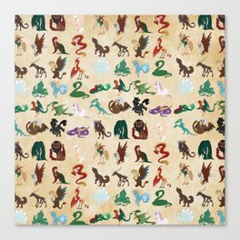 Mythical Creatures Pattern Canvas Print