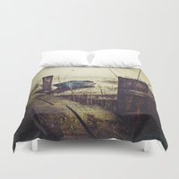 rowing Duvet Covers featuring Rugged fisherman by HappyMelvin