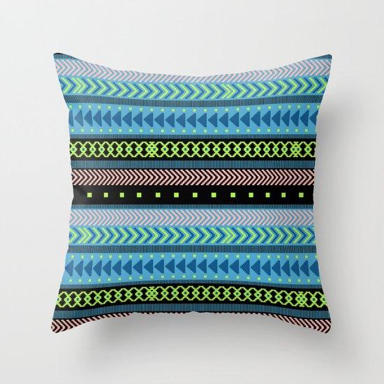 Together Again - tribal geometrics Throw Pillow