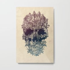 Skull Floral Metal Print