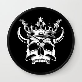 horned and crowned skull illustration Wall Clock