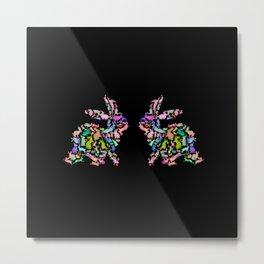 Kissing Watercolor Bunnies Metal Print