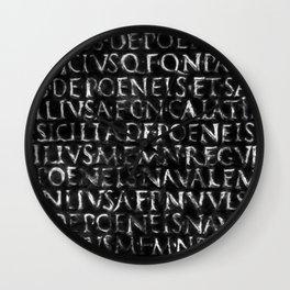 Antique Roman Typographic Pattern Wall Clock