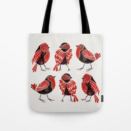 Finches – Red & Black Palette Tote Bag