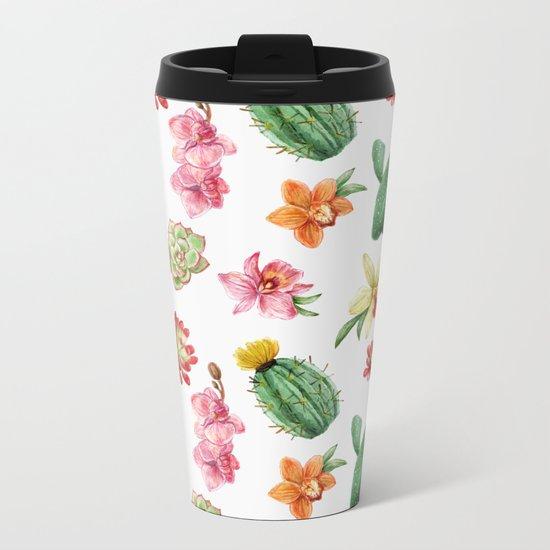 Watercolor Cacti Pattern Metal Travel Mug
