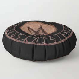 Mannaz - Wooden Celtic Rune of self, individuals, universe, family, loved ones, friends, devoted Floor Pillow