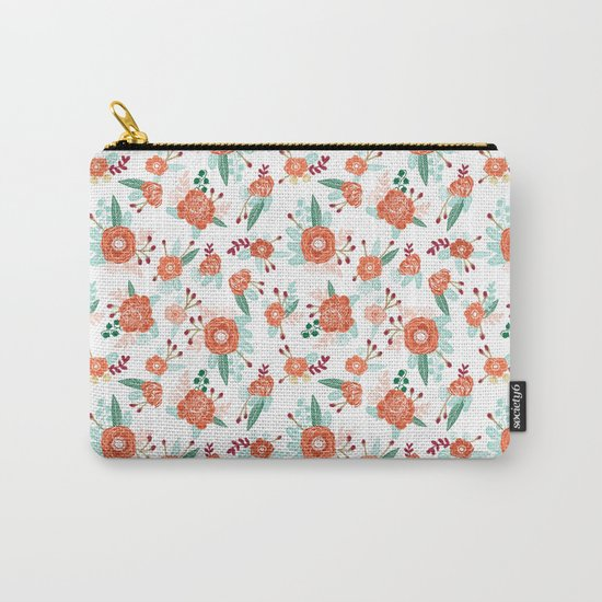 Autumn Fall florals cute winter christmas theme pattern print Carry-All Pouch