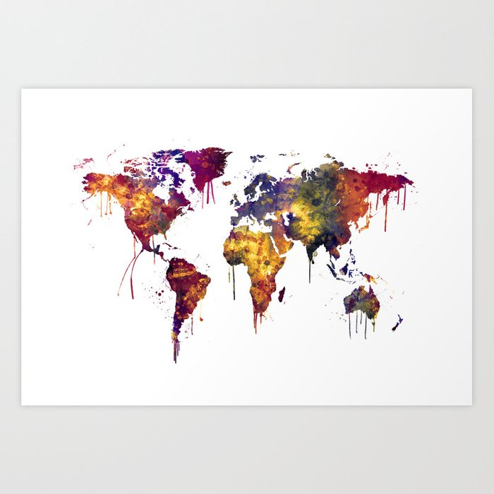 Watercolor Map of the World Map Art Print by artpause | Society6