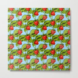 Strawberry Healthy Fruit Pattern Gift Metal Print