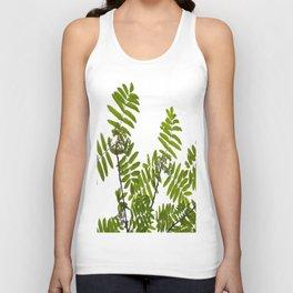 Green Rowan Leaves White Background #decor #society6 #buyart Unisex Tank Top