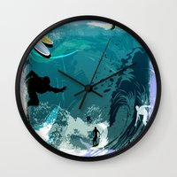 surfing Wall Clocks featuring Surfing by Robin Curtiss