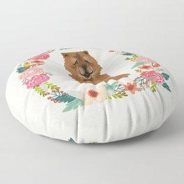 chowchow dog floral wreath dog gifts pet portraits Floor Pillow