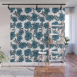 Blue Flowers with Banana Leaves Wall Mural