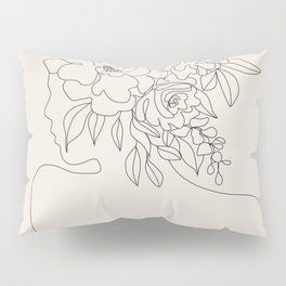Woman with Flowers Minimal Line I Pillow Sham