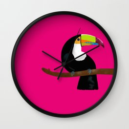Toucan pink fuchsia Wall Clock