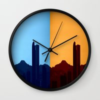 denver Wall Clocks featuring Denver, Colorado by Augustina Trejo