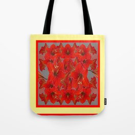 YELLOW COLOR RED AMARYLLIS FLOWER GARDEN  FLOWERS Tote Bag