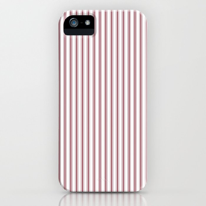 Dark Red Pear Mattress Ticking Narrow Striped Pattern - Fall Fashion 2018 iPhone Case