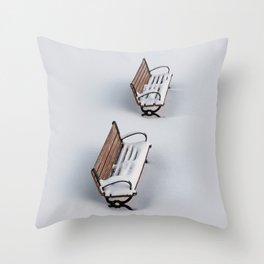 Winter's Benches Throw Pillow