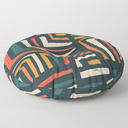 Square puzzle folk pattern Floor Pillow