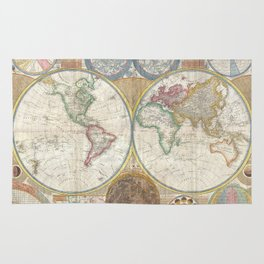 Map of the World in Hemispheres Rug