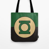 dc comics Tote Bags featuring Green Lantern Logo Minimalist Art Print DC Comics by The Retro Inc
