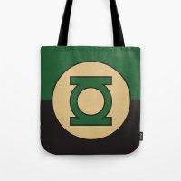 dc comics Tote Bags featuring Green Lantern Logo Minimalist Art Print DC Comics by The Retro Inc