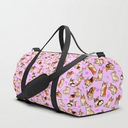 Lovey corgis in pink Duffle Bag